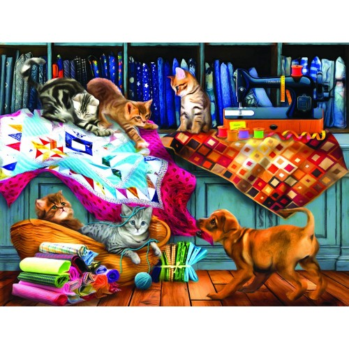 Quilting Room Mischief 300 Pc Jigsaw Puzzle By Sunsout