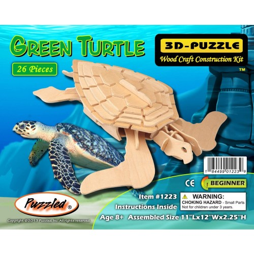 Puzzled Green Turtle Wooden 3D Puzzle Construction