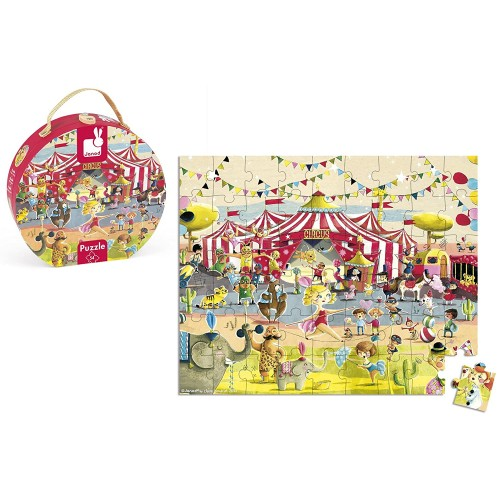 Janod 54 Piece Circus Puzzle Toy With Mini Suitcase Styled Hat Box For Organized Storage Store