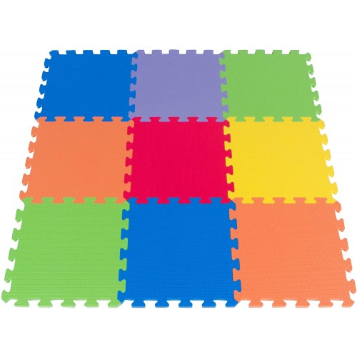 Foam Puzzle Play Mat 3×3 Feet Floor Playmat 9 Soft Tiles 6 Bright Colors Made In Taiwan From