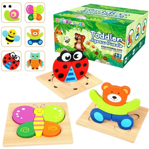 Springflower Wooden Jigsaw Puzzle Set6 Pack Animal Shape Color Montessori Toy Fine Motor Skill