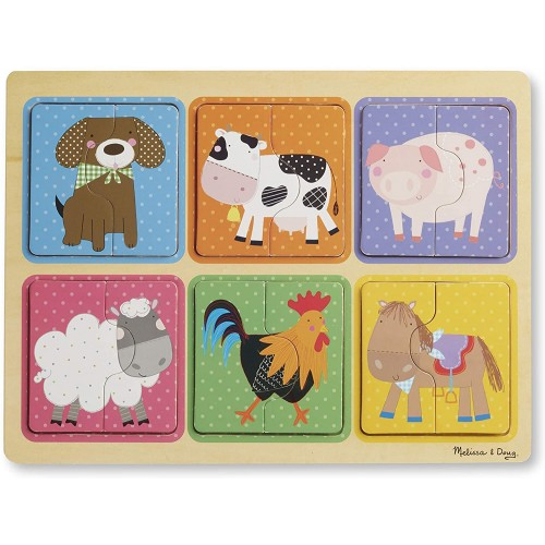 Melissa Doug Natural Play Wooden Puzzle Farm Friends 6 2Piece Animal Puzzles