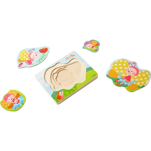 Haba Butterfly Magic 4 Piece Layered Wooden Puzzle For Ages 12 Months And