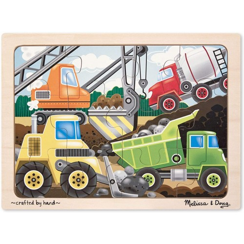 Melissa Doug Construction Site Vehicles Wooden Jigsaw Puzzle With Storage Tray 12