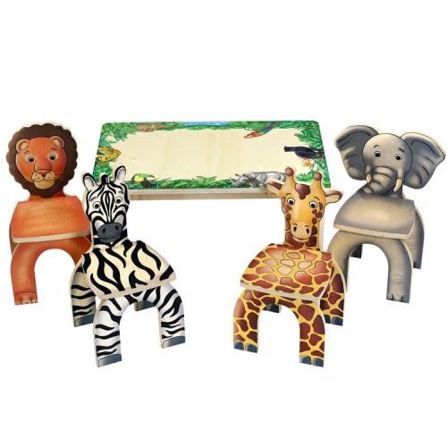 Safari Table & Animal Chairs – Kids Table Set