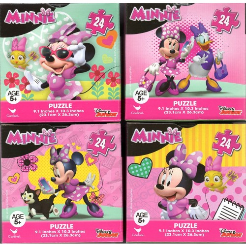 Cardinal Minnie Mouse Bundle Of 4 24 Pieces In Cube Shaped Boxes Gift Set Puzzles For Girls Ages