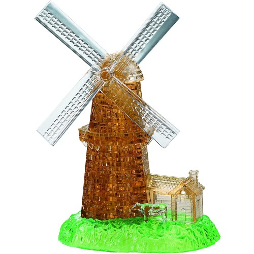 Bepuzzled Deluxe 3D Crystal Jigsaw Puzzle Kit Windmill Diy Assembly Brain Teaser Fun Model Toy Gift