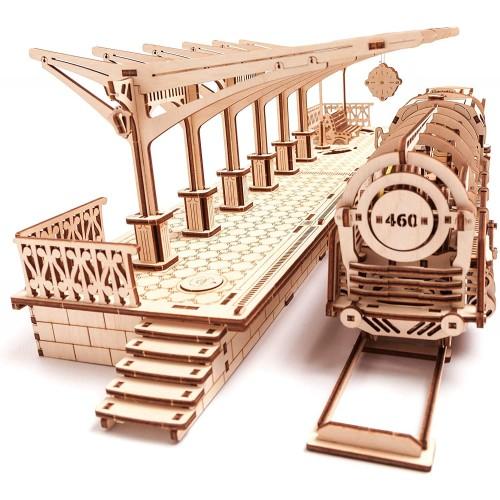 Ugears Bundle Locomotive And Railway Platform Mechanical 3D Puzzle Eco Diy Brainteaser Teens
