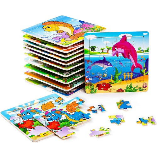 Bleuzoo 12 Mini Wooden Puzzles Party Favors For Children Toddlers Preschool Dinosaur Train Dolphin
