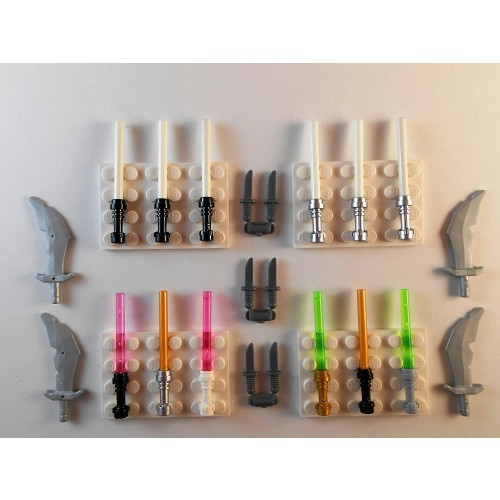 Lego Lightsabers Knifes Swords Glow In The Dark Lot Of 19 Star Wars Minifigure Weapons