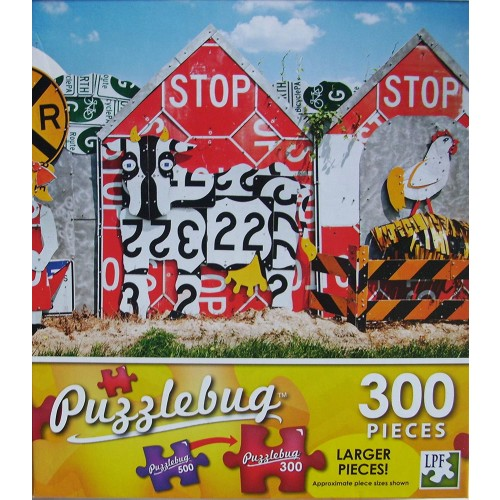 Puzzlebug 300 Piece Puzzle Fence Made Of Recycled Traffic Signs New Larger