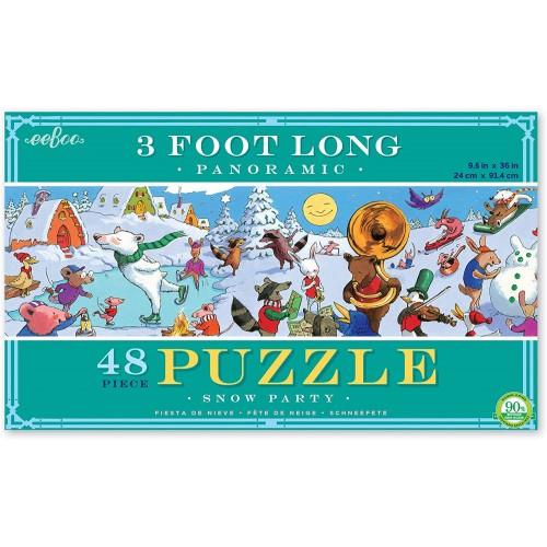 Eeboo Snow Party Panoramic Floor Puzzle 3 Feet Long 48