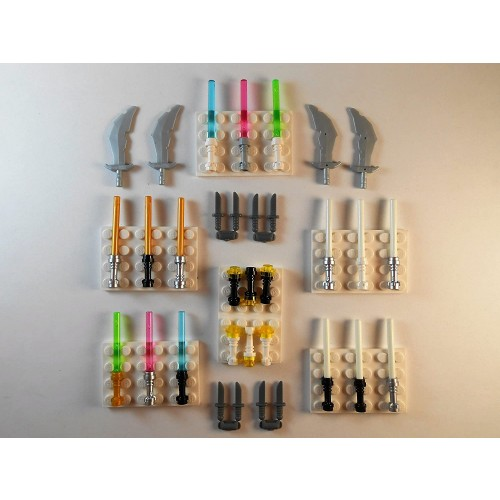 Lego Lightsabers Flashlights Swords Knifes Glow In The Dark Lot Of 29 Star Wars Minifigure Weapons