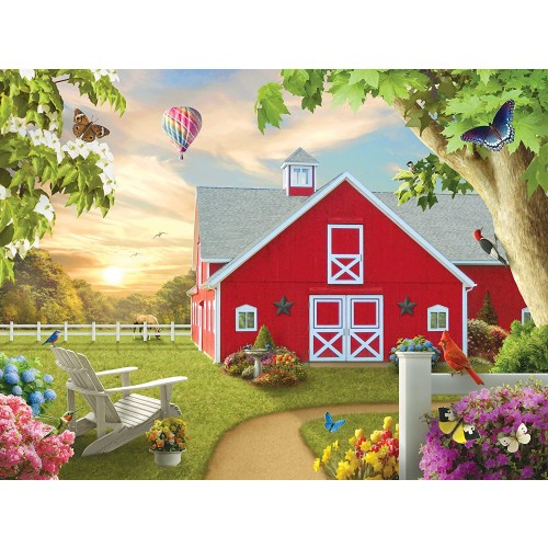 Masterpieces Lazy Days Morning Song Red Barn 750 Piece Jigsaw Puzzle By Alan
