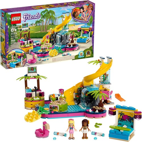 Lego Friends Andreas Pool Party 41374 Toy Building Set With Andrea And Stephanie Mini Dolls
