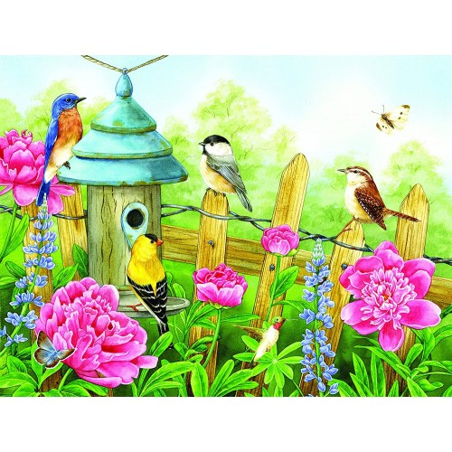 Peonies Place 500 Pc Jigsaw Puzzle Bird Theme By