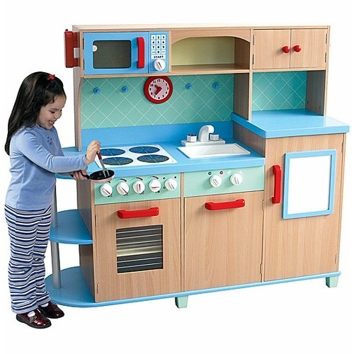 All in One Play Kitchen – Deluxe Wooden Kids Kitchen Set