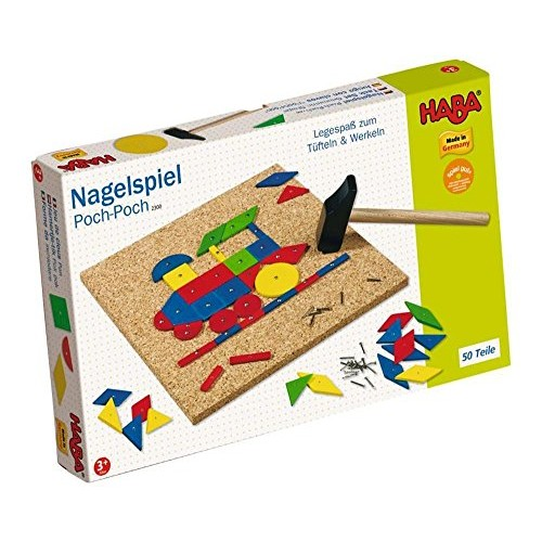 HABA Geo Shape Tack Zap Play Set – Make Geometric Designs with Corkboard Hammer Templates and 50 Wooden Tiles Made in Germany