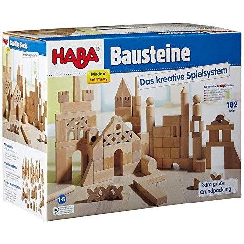 HABA Basic Building Blocks 102 Piece Extra Large Wooden Starter Set Made in Germany