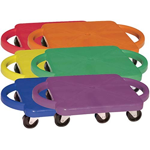 Champion Sports Standard Scooter Board with Handles – Set of 6 Multi-Colored