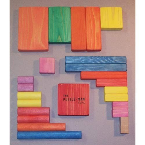 THE PUZZLE-MAN TOYS W-1003 Wooden Educational Building Blocks – Small Set of 25