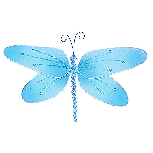 Bugs-n-Blooms Hanging Dragonfly Large 13 Blue Crystal Nylon Mesh Dragonflies Decorations Decorate Baby Nursery Bedroom Girls Room Ceiling Wall Decor Wedding Birthday Party Shower Playroom Child Art