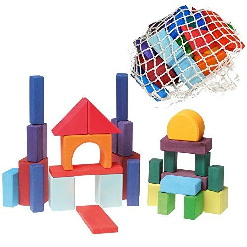 Grimm's Colored Rainbow Geo-Blocks – Classic Wooden Building Blocks Set with Net Bag 30 Pieces