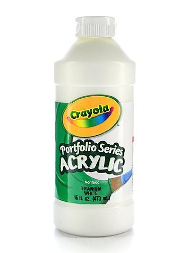 Crayola Portfolio Series Acrylic Paint 16-oz Flip Top Plastic Bottle Titanium White Pint