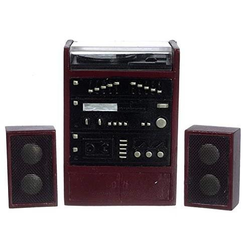 Dollhouse Miniature Mahogany Stereo with Speakers