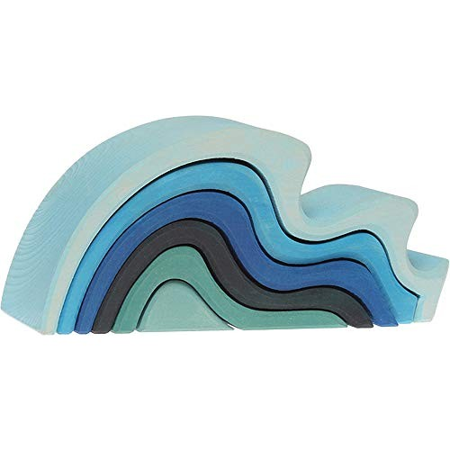 Grimm's Large WaterWaves Stacker – Nesting Wooden Wave Blocks Elements of Nature WATER