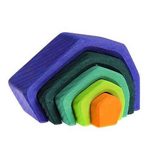 Grimm's Small Stone Caves Nesting Wooden Blocks Stacker Elements of Nature EARTH