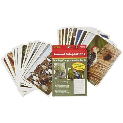 Edupress 32 Piece Reading Comprehension Science Cards Set with Animal Adaptations