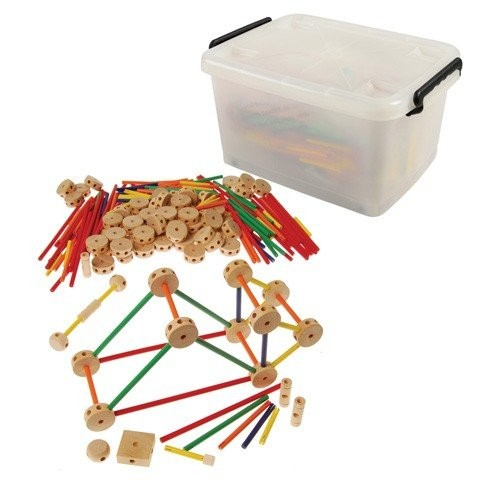 Constructive Playthings DWD-20 Classic Wood Builder Rod and Connector System with Storage Tub Grade Kindergarten to 3