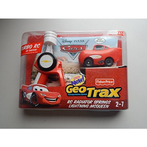 Disney Pixar Cars Geo Trax Turbo R/C Car Sponsorless Lightning McQueen