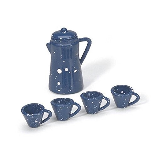 Miniature – Coffee Pot with Cups – Blue – 7/8 inch – 1 set