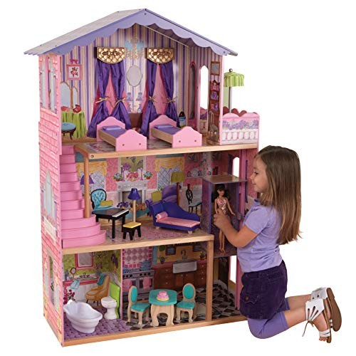 KidKraft My Dream Mansion Wooden Dollhouse with New Gliding Elevator and 13 P Pink