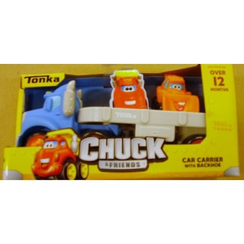 Tonka Chuck & Friends Blue Car Carrier with Backhoe