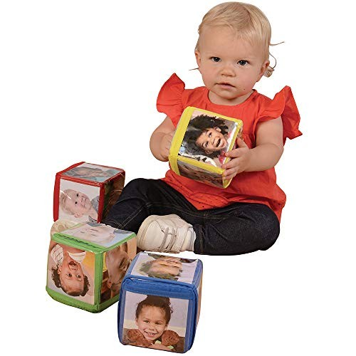 Constructive Playthings Toys Foam Stacking Blocks with Photo Pockets 4 Piece Set Holds 24 Photos Ages 12 Months and Up