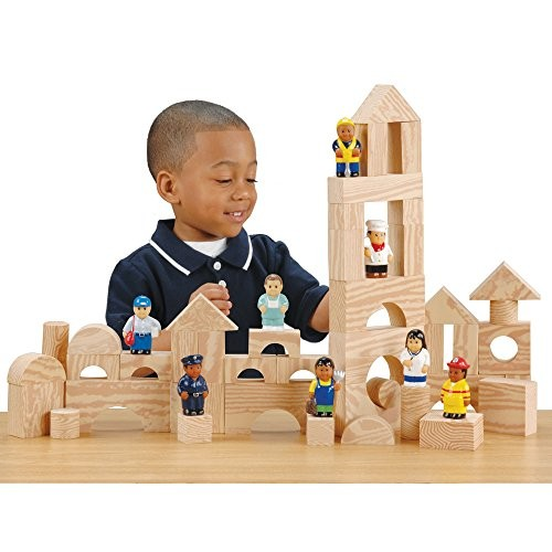 Constructive Playthings CPx-781 Wood-Look Foam Blocks with Soft Community Workers