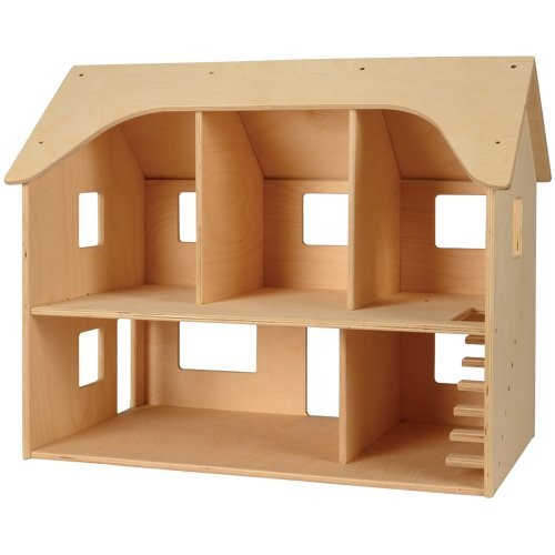 Constructive Playthings-CP-708 Classroom Wooden Doll House with Fixed Roof and Open Back for Ages