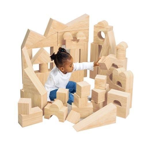 Constructive Playthings Super-Size Wood-Look Foam Blocks for Kids 56 Piece Set