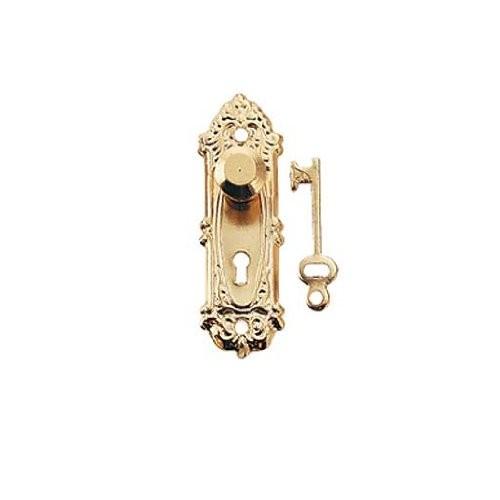 Dollhouse Miniature Brass Opryland Doorknob w/Plate and Key