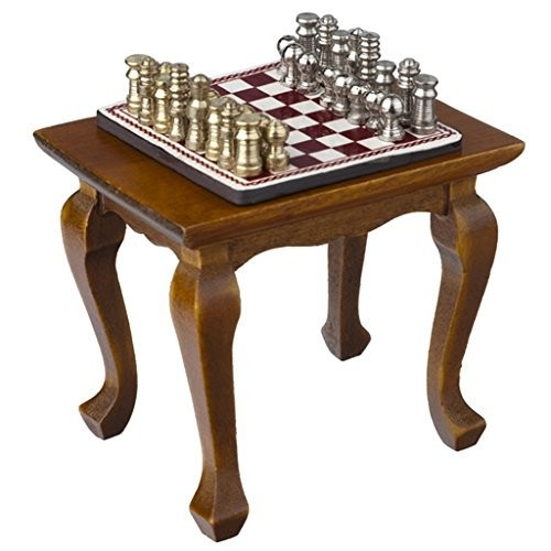 Aztec Imports Inc Dollhouse Miniature Chess Table and Set