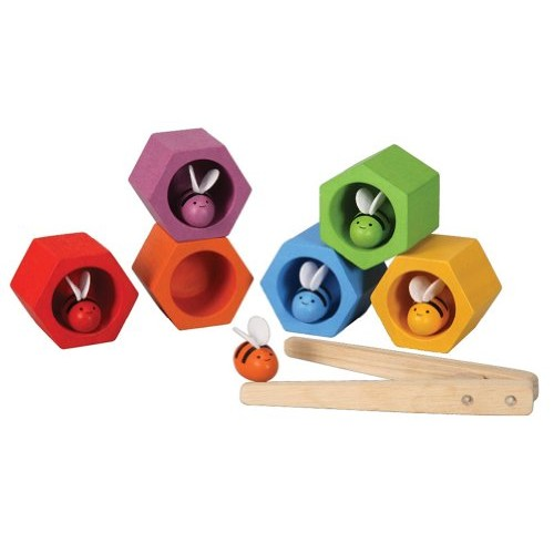 PlanToys Wooden Beehives Sorting Game 4125 Sustainably Made from Rubberwood and Non-Toxic Paints Dyes