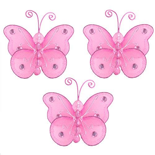 Butterfly Decor 3 Dark Pink Fuchsia Mini x-Small Wire Hanging Nylon Mesh Butterflies Piece Decorations Set Decorate Baby Nursery Bedroom Girls Room Wall Wedding Birthday Shower Scrapbook DIY