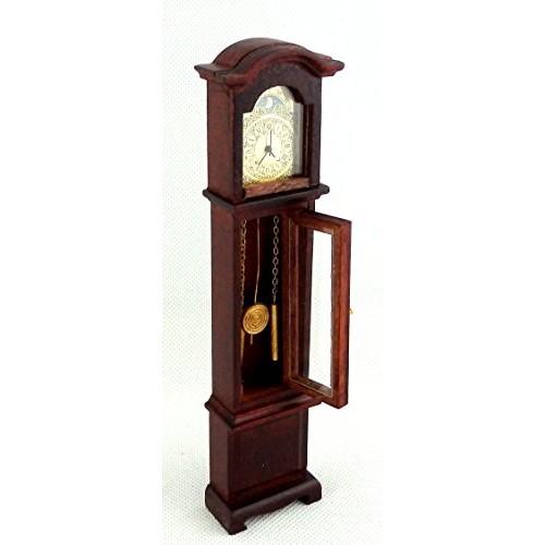 Dollhouse Miniature 1:12 Wooden Working Quartz Mahogany Grandfather Clock