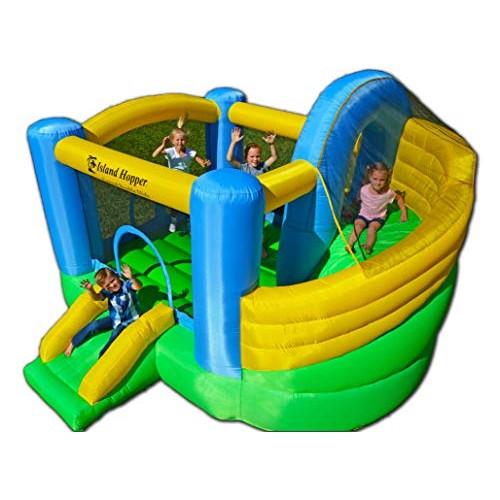Island Hopper Curved Double Slide Recreational Kids Bounce House with Safe Return Curved Slide