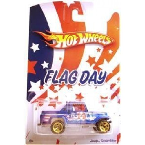 Hot Wheels 2010 Flag Day Wal-Mart Exclusive Jeep Scrambler Blue Patriotic Tampos