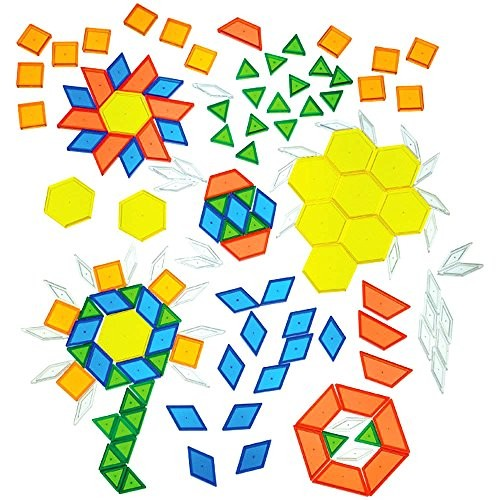 Constructive Playthings Toys Translucent Pattern Blocks Set of 147 Pieces Various Shapes and Colors
