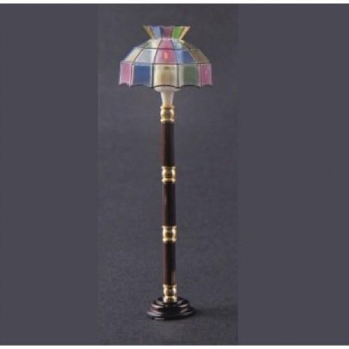 Heidi Ott Dollhouse Miniature 1:12 Scale Stained Floor Lamp w/ Tiffany Style Shade #YL3015